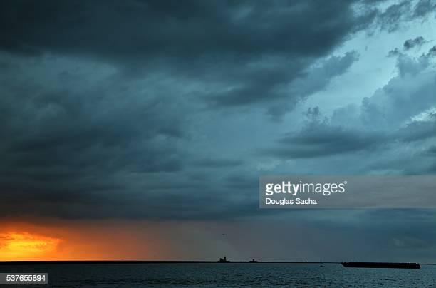 Passing storm over the distant lighthouse