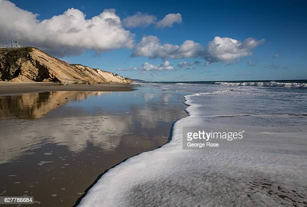 A passing storm provides a blue sky and a sandy beach perfect walking on November 26 in Gaviota State Park California Because of its close proximity...