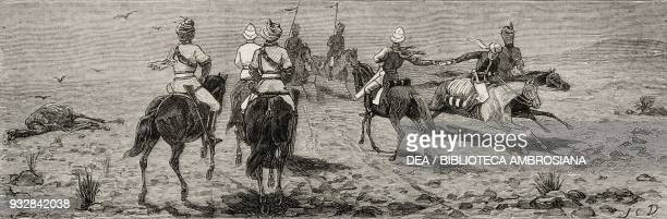 Passing the English mail between two horsemen plains of Chadeh Second AngloAfghan War illustration from the magazine The Graphic volume XIX no 487...