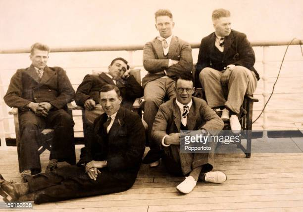 Passing the time on deck during the long journey to Australia England cricketers relax on board the RMS Orontes circa September 1932 Back row Harold...
