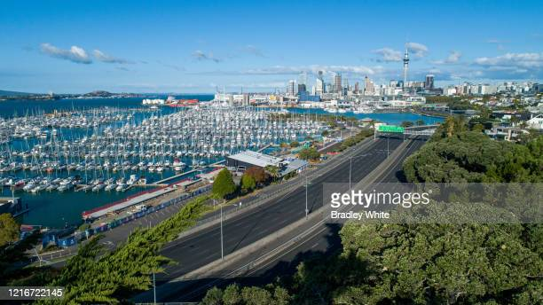 Passing the Westhaven Marina, is noticeably quieter on April 04, 2020 in Various Cities, New Zealand. New Zealand was placed in complete lockdown and...