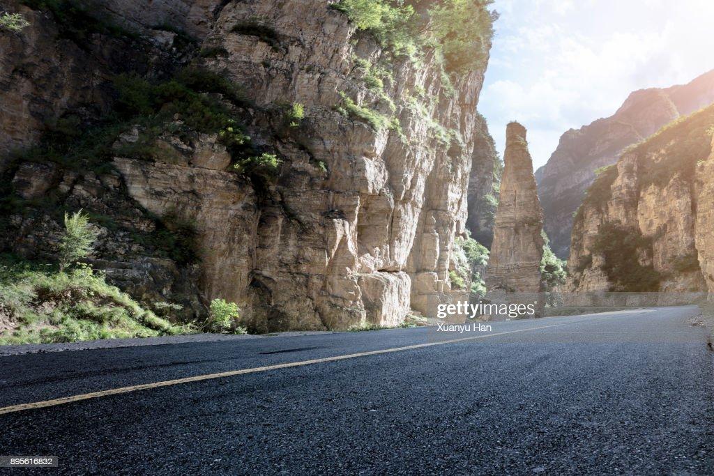 ROAD Passing Through Cliffs : Stock Photo