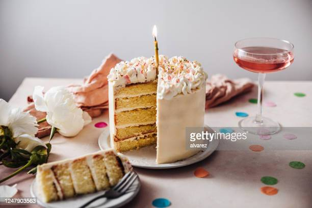 passion fruit birthday cake - cake stock pictures, royalty-free photos & images