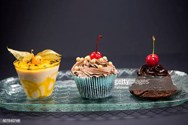 Passion fruit mousse, Chocolate Cupcake and Petit Gateau
