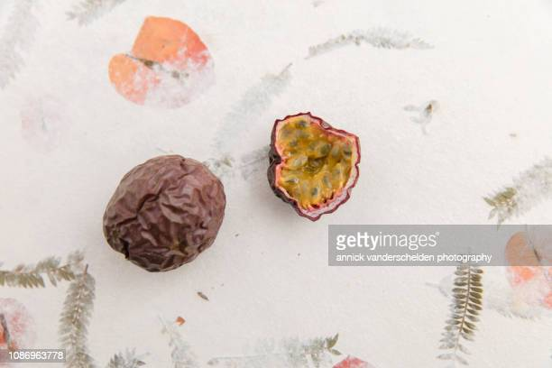 passion fruit - organic compound stock photos and pictures