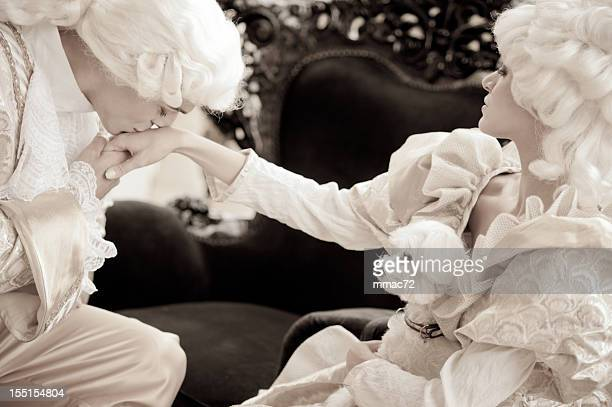 passion in old french costumes - marie antoinette photos et images de collection