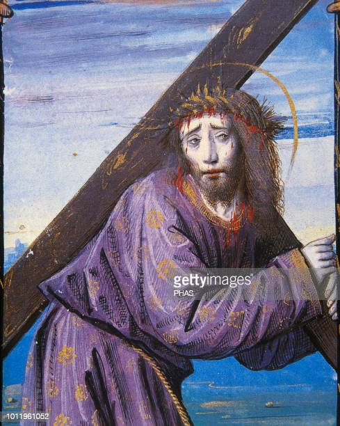 Passion of Christ Jesus with the cross in tow on the way to Calvary Miniature Book of hours 15th century Conde Museum Chantilly France