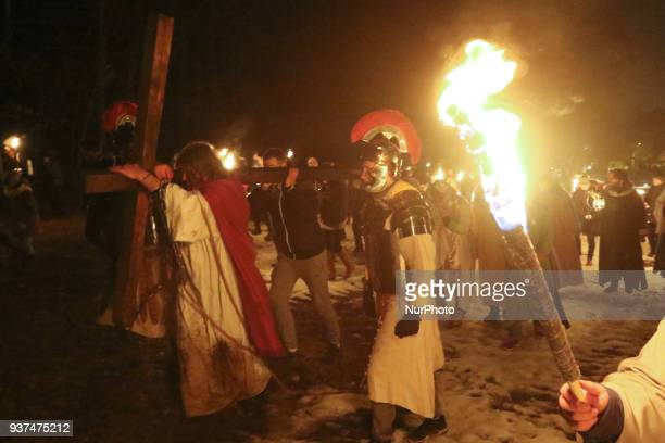 Passion of Jesus Christ reenactment participants are seen in Sopot Poland on 24 March 2018 The Passion Play or Easter pageant is a dramatic...