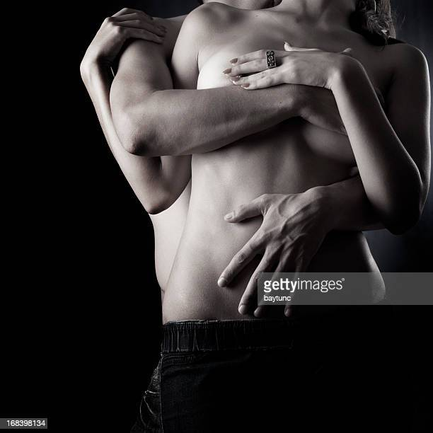 passion of lovers - black and white sensual couples stock photos and pictures
