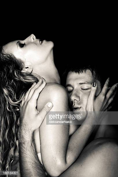passion - couple tongue kissing stock photos and pictures