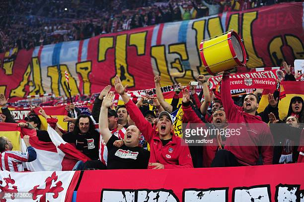 Passionate and colourful Atletico Madrid fans during the UEFA Europa League Cup Final between Club Atletico de Madrid and Fulham at the Nordbank...
