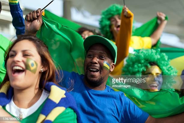 Brasilianischer Fußball-Fans begeistert