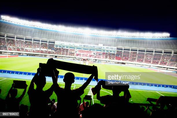 passionate fans cheer and raise banners at a sporting event in the stadium - match sport stock pictures, royalty-free photos & images