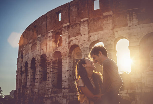 Passionate Kiss In Front Of The Coliseum Wall Art