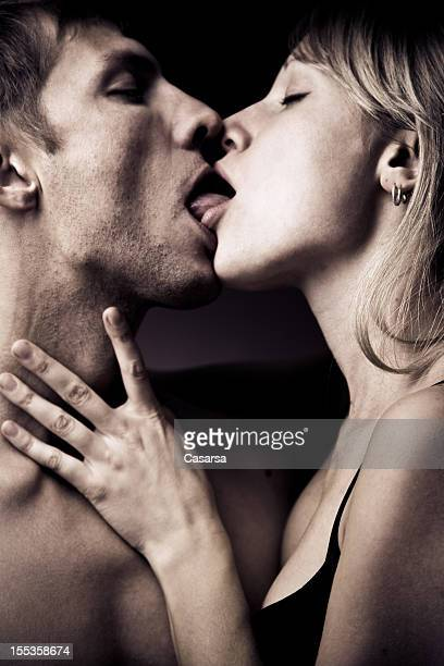 passionate lovers - couple tongue kissing stock photos and pictures