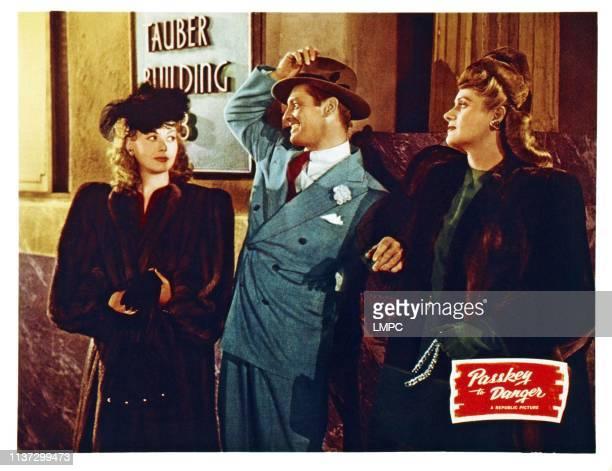 Passkey To Danger US lobbycard from left Adele Mara Kane Richmond Stephanie Bachelor 1946