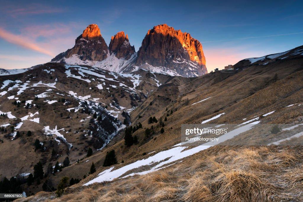 Passo pardoi Mountain Range Dolomites, Italy. : Stock Photo