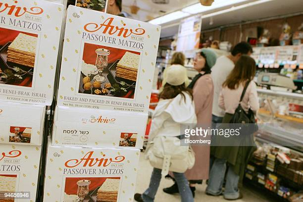 Passover Matzos are displayed at Zabar's food store in New York on Tuesday April 3 2007 Warmer weather spurred a 49 percent rise in US retail sales...