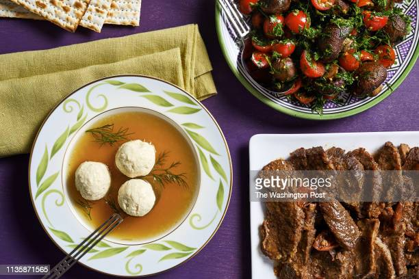 Passover menu by Paula Shoyer not quite matzoh ball soup traditional brisket mushroom tomato and herb salad and lemon quinoa cake photographed for...