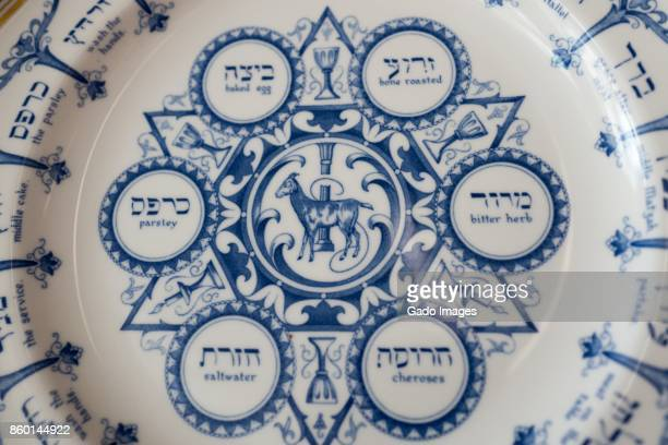 passover plate - passover symbols stock pictures, royalty-free photos & images