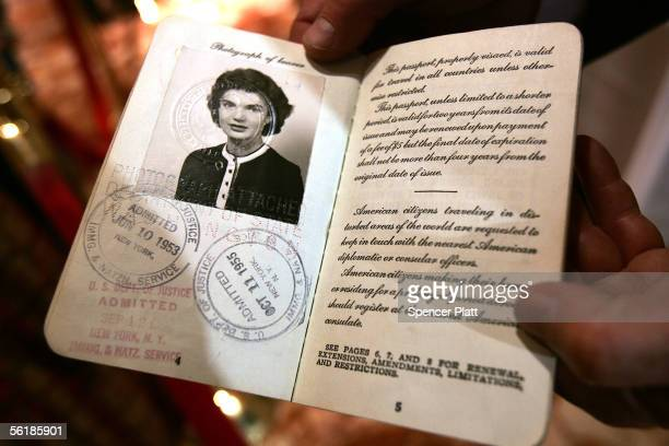 A passport belonging to Jacqueline Kennedy wife of former US President John F Kennedy is displayed at an auction preview at the Trump Tower November...
