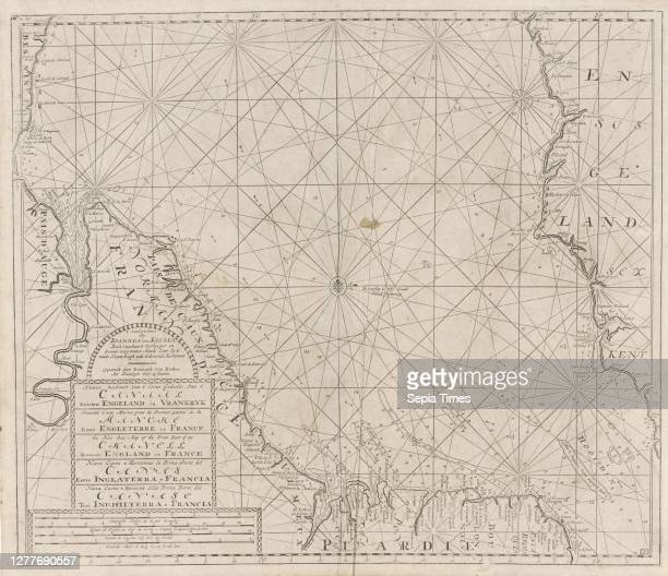 Passport card of the Channel between England and France part 1 New Sea chart of the 'First Portion of t' Canal between England and Vrankryk Pass card...