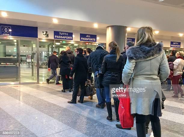 Passport control in Malpensa Airport, Milan, Italy