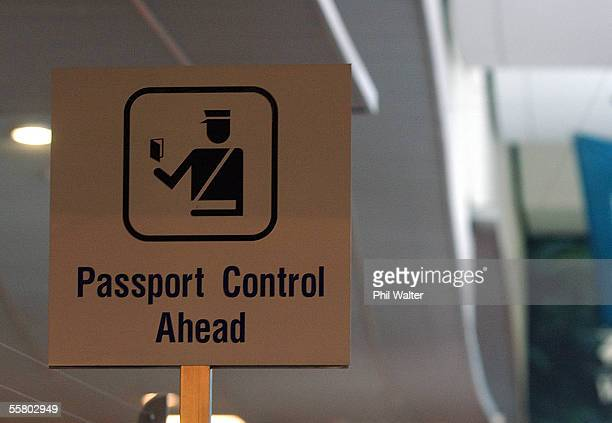 Passport control sign at the Auckland International Airport in New Zealand Tuesday September 21st 2004