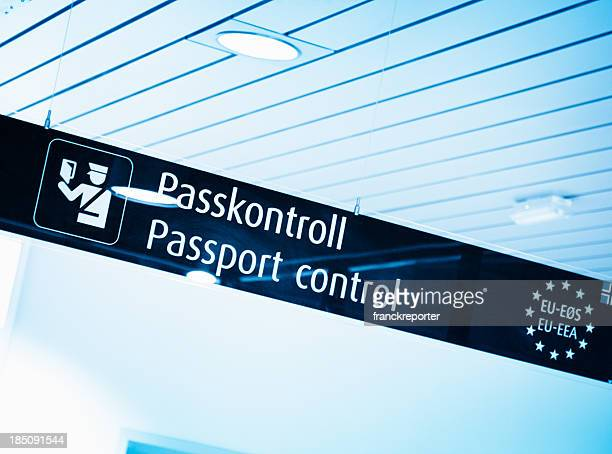passport control signs in airport - customs stock pictures, royalty-free photos & images