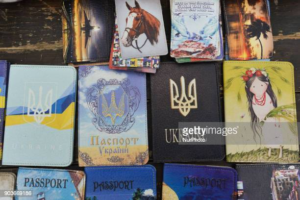 Passport covers on display for sale in Lviv's Old Town street market On Wednesday 11 January 2018 in Lviv Ukraine