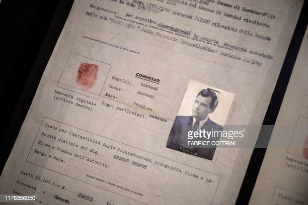"Passport issued in 1949 by the International Committee of the Red Cross office in Genoa and bearing the name ""Helmut Gregor"", in reality Nazi war..."