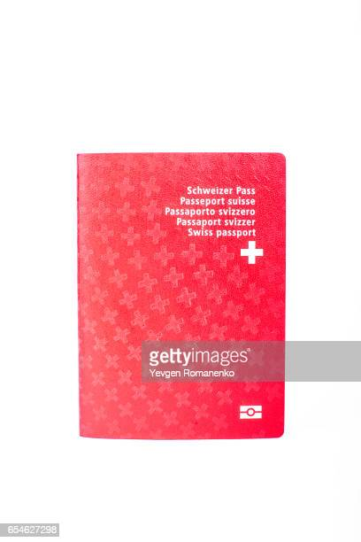 Passport of Swiss Confederation citizen, isolated on white background