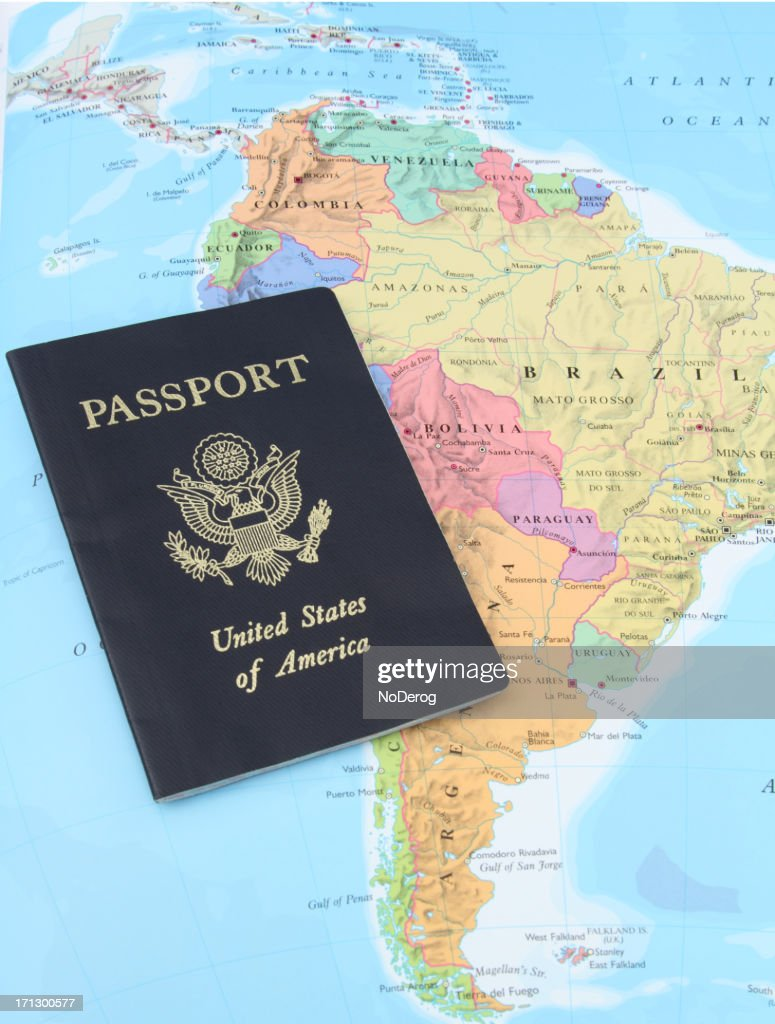 Usa Passport On Map Of South America High-Res Stock Photo ...