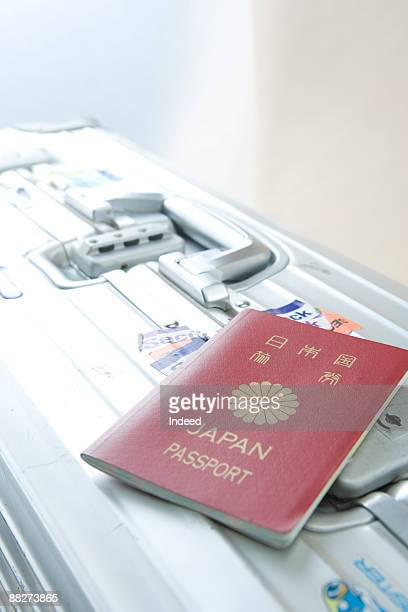 Passport on suitcase