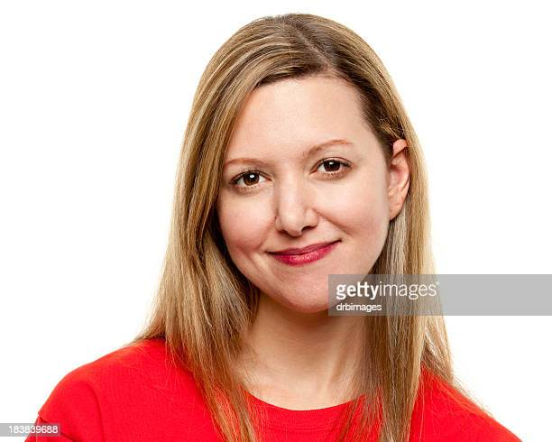 a passport portrait of a young woman in red t-shirt - red shirt stock pictures, royalty-free photos & images