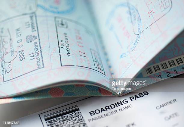 Passport with boarding pass inside