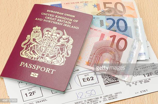 Passport with Euro money and airline boarding card