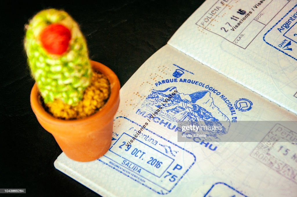 Passport with stamp of visit to Machu Picchu (Cusco, Peru). : Stock Photo