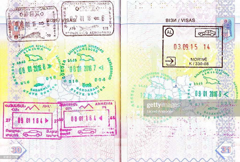 Reisepass Mit Briefmarken Von Aserbaidschan Und Georgien Armenien Albanien Stock Foto Getty Images