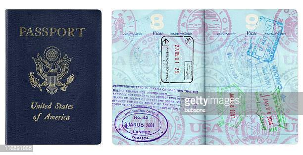 nous un passeport avec un visa de voyage - passeport photos et images de collection