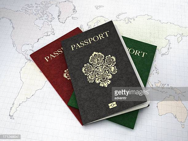 Passports on world map