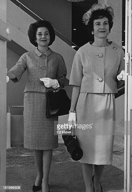 MAR 12 1961 ' Passports to Fashion ' ***** Mrs Harry Kelly Jr and Mrs John Walter Hyer Jr are ready to step into spring garbed in two of the wool...