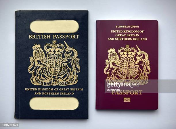 uk passports vintage and current - britain stock pictures, royalty-free photos & images