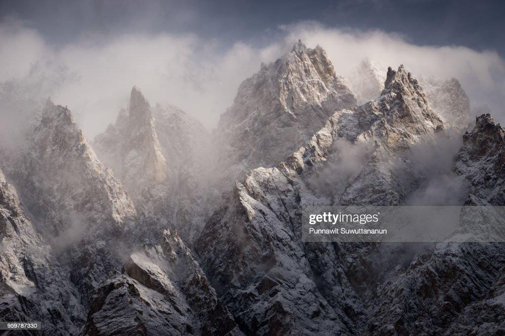 Passu cathedral mountain peak in a morning, Gilgit Baltistan, Pakistan : Stock-Foto