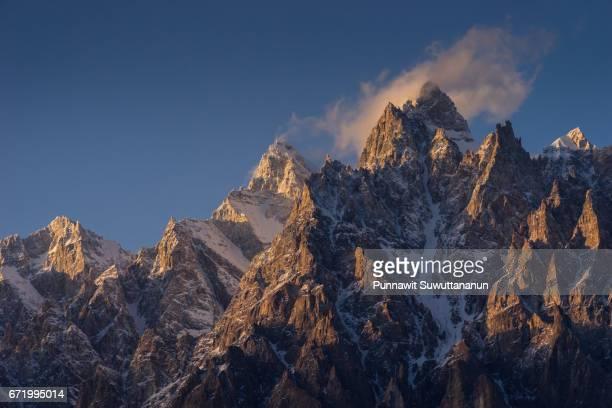Passu cone peak at beautiful sunset, Hunza valley, Gilgit Baltistan, Pakistan