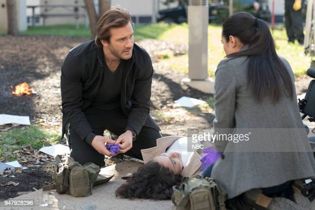 """Password"""" Episode 211 -- Pictured: Clive Standen as Bryan Mills, Jessica Camacho as Santana--"""