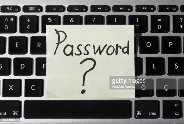 A password sign is seen on a keyboard in Ankara Turkey on October 26 2017