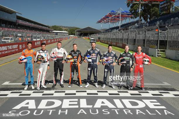 Past Adelaide 500 winners Nick Percat driver of the Brad Jones Racing Commodore ZB Rick Kelly driver of the Nissan Motorsport Nissan Altima Garth...