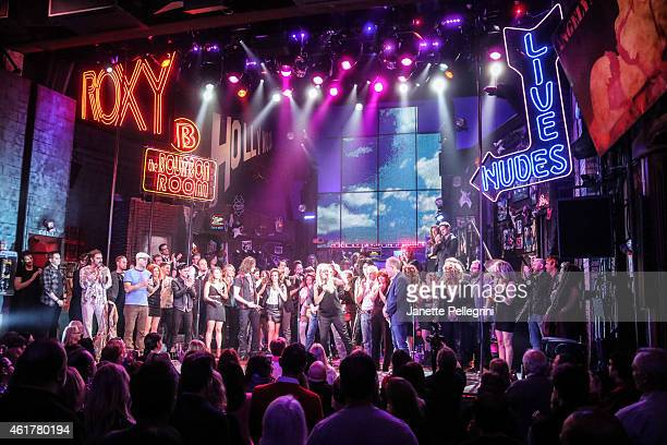 Past and final cast members attend 'Rock Of Ages' Final Performance On Broadway at Helen Hayes Theatre on January 18 2015 in New York City