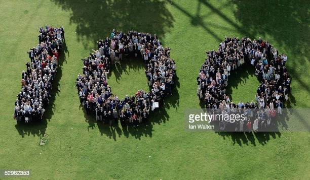 Past and present British Olympians form a giant number 100 during a gathering to celebrate one hundred years of the British Olympic Association in...